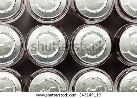 row caps of bottle medicine - stock photo