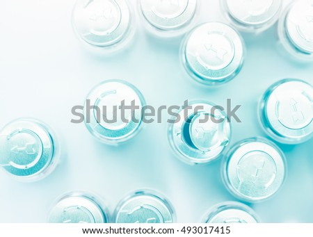 row caps of bottle medicine