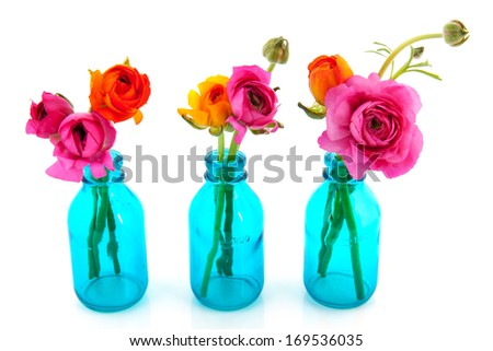 Row colorful butter cups in pink and orange in blue vases - stock photo