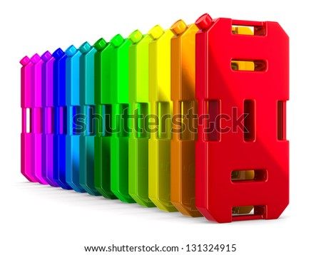 row colorful gasoline canisters on white background. Isolated 3D image - stock photo
