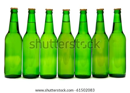 Row from  seven beer bottles. Isolated on white background