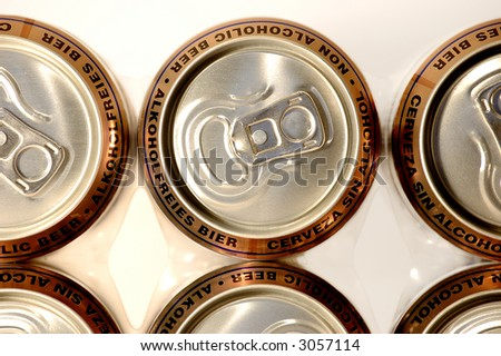 row golden aluminum non alcoholic beer cans