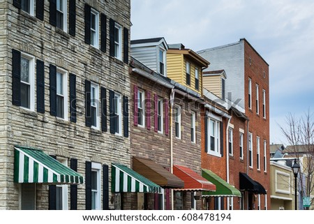 Row houses in Little Italy, Baltimore, Maryland.