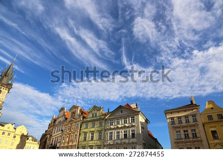 Row houses on blue sky background in Prague (Stare mesto), Czech Republic