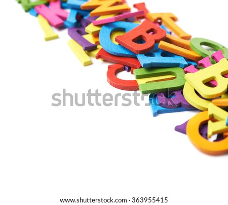Row made of colorful letters isolated - stock photo