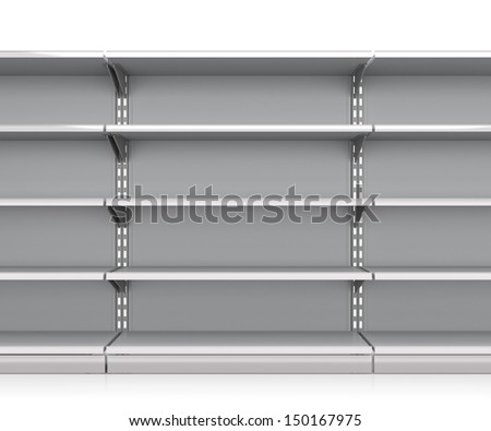 row mall shelves from front. render - stock photo