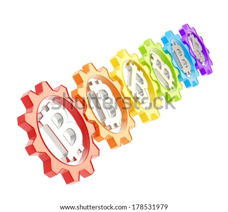 Row of a colorful plastic gears with a bitcoin peer-to-peer crypto currency sign inside, isolated over white background - stock photo