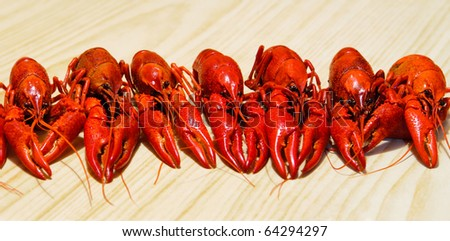 Row of a red crayfishes, wooden background - stock photo