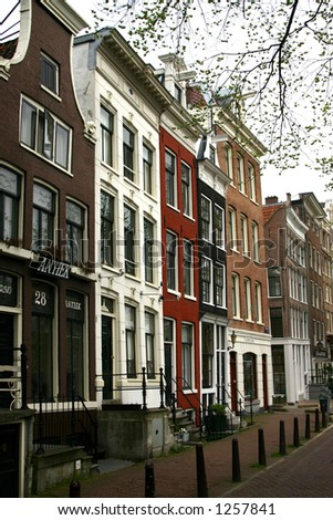 Row of Amsterdam canal homes