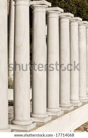 Row of ancient Greek columns replicas
