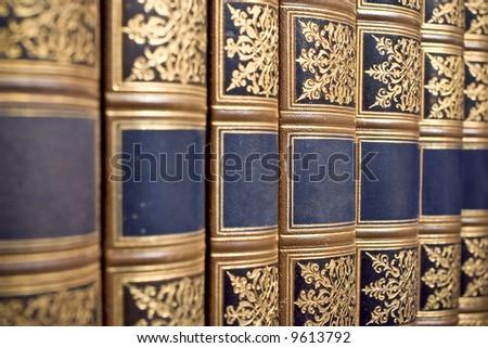 row of antique books - stock photo