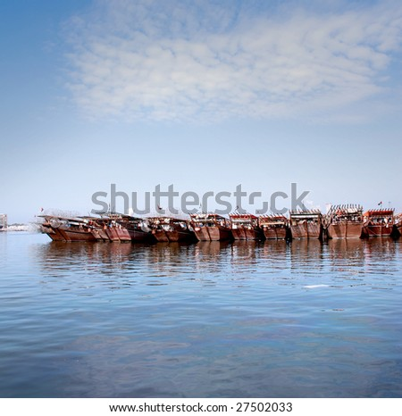 Row of arabic boats - stock photo