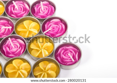 Row of aromatic candles - stock photo