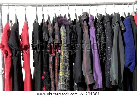 Row of autumn/winter clothes clothing on hanger