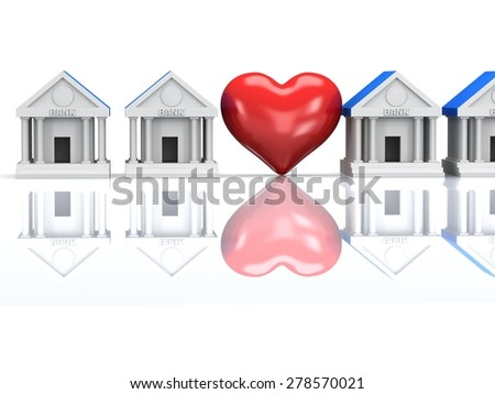 Row of bank buildings with red heart. 3d render icon. Real estate, rent, building, healthcare concept. - stock photo