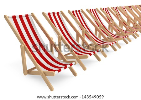 Row of Beach chairs with white and red stripes on a white background