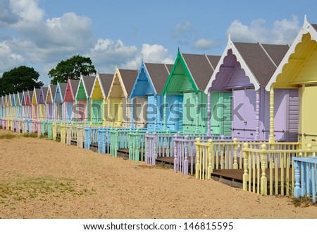 Row of Beach Huts - stock photo