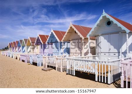 Row of Beach Huts - stock photo