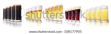 Row Of Beer Glasses on White background - stock photo