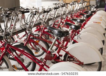 Row of bicycles for rent in Antwerpen, Belgium  - stock photo
