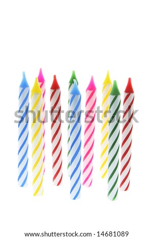 Row of Birthday Candles on White Background - stock photo