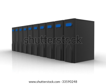 Row of black servers - stock photo