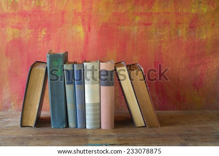 row of books,free copy space - stock photo