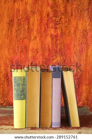 row of books, free copy space - stock photo