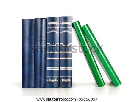 Row of books isolated on white background, blank labels, free copy space - stock photo