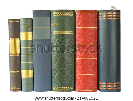 row of books,multicolored, isolated on white background, free copy space - stock photo