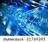Row of bottled water - stock photo