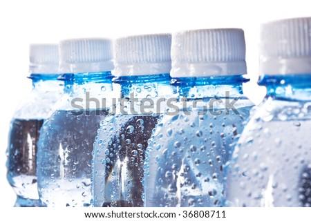 Row of bottles - stock photo