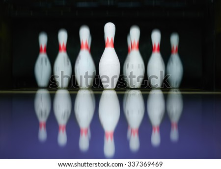 Row of bowling skittles - stock photo