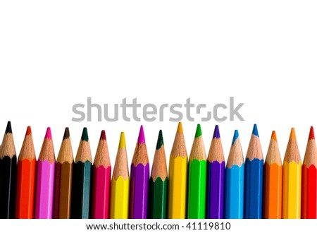 Row of bright color pencils isolated on white (with empty space for your text) - stock photo