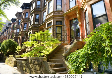 Row of brownstone in New York City - stock photo