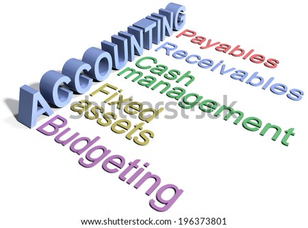 Row of business corporate Accounting Department functions words concepts - stock photo