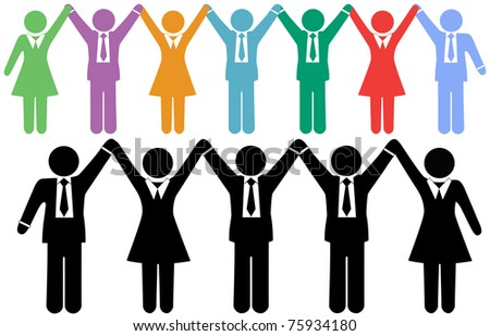Row of business people symbols holding hands raise arms to celebrate - stock photo