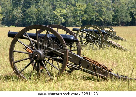 Row of cannons in Civil war reenactment in North Georgia