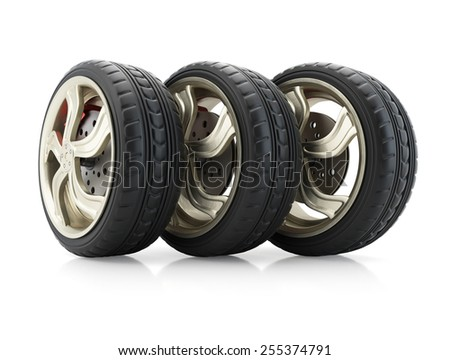 Row of car wheels isolated on white background. 3d render - stock photo