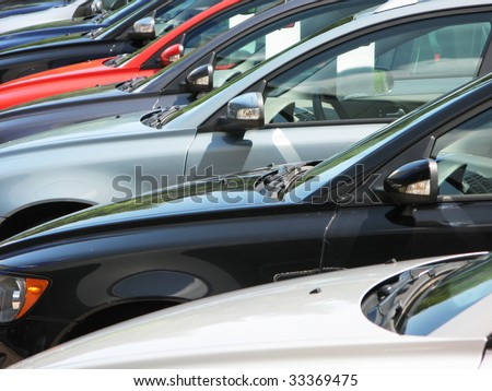 Row of cars - stock photo