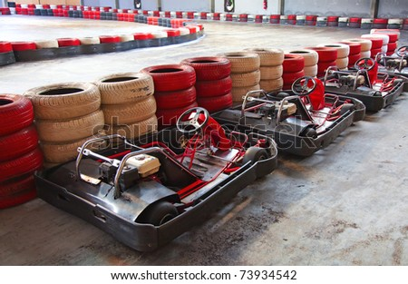 Row of carts, ready to start