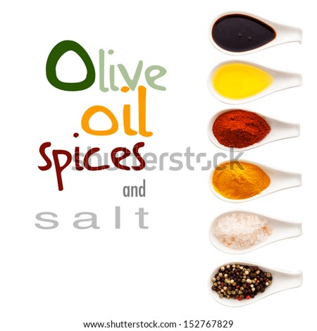 Row of ceramic spoons forming a border filled with olive oil, spices and Himalayan rock salt isolated on white with text - stock photo