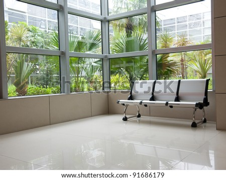 row of chair  in modern office building.