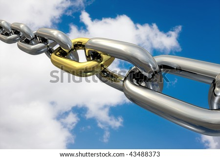 Row of chrome chains with a golden link on a blue sky, isolated - stock photo