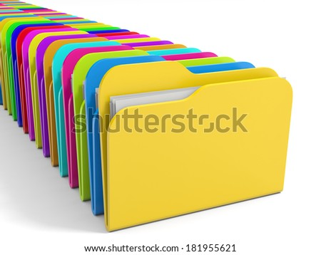Row of  color folders icon. 3D illustration. - stock photo