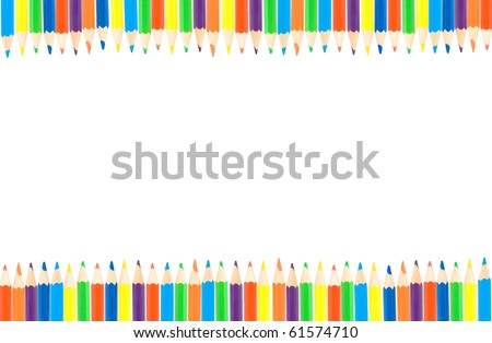 row of color pencils - stock photo