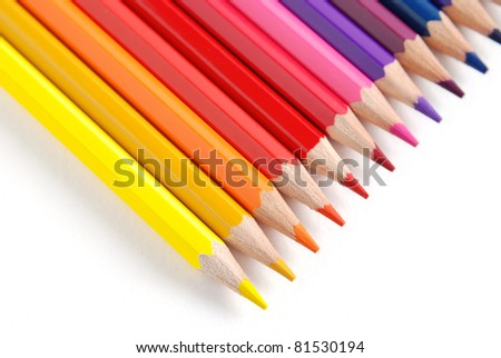 Row of colored pencils, isolated on a white background - stock photo