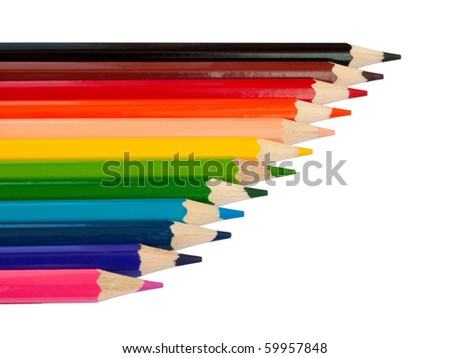 Row of colored pencils. Isolated on white background with clipping path. - stock photo