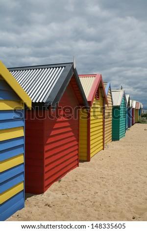 Row of colorful beach huts in Melbourne, Australia - stock photo