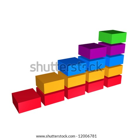 Row of colorful block chart depicting growth - stock photo